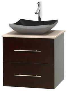 Centra 24 Espresso SGL Vanity Ivory Marble Top No Mrr Modern Bath