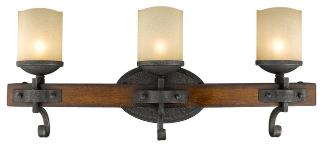 Madera 3 Light Bathroom Vanity Light, Black Iron Traditional Bathroom Vanity