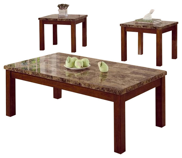 Coaster Occasional Table 3 Piece Set With Marble Look Top Transitional  Coffee Table