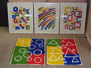 custom painted, primary colors,  art work contemporary accessories and decor