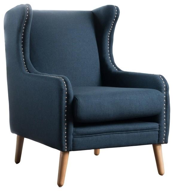 GDF Studio Rosella High Wingback Fabric Club Chair, Navy Blue