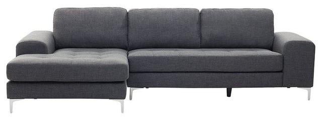 Tufted Corner Sofa, Dark Grey