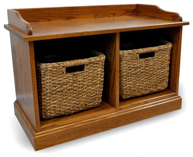 Cubby Storage Bench, Wooden, 2 Cubbies, Baskets Included, Oak Wood, 34