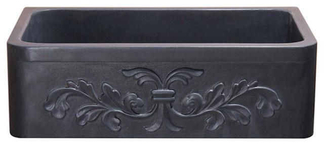 """Floral Carving Front 33"""" Farmhouse Sink, Black Lava."""