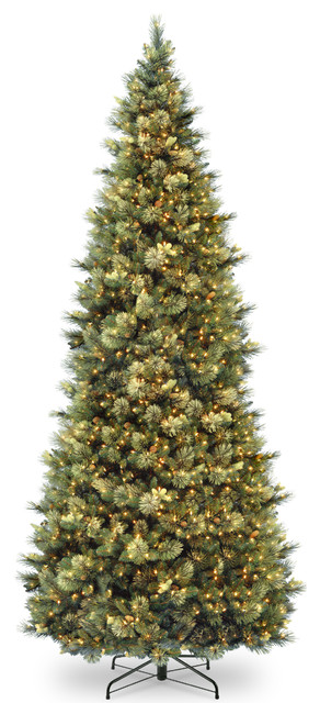 10' Carolina Pine Slim Wrapped Tree With Flocked Cones & Clear Lights