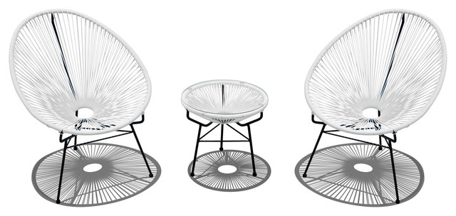 Acapulco 3 Piece Chat Set, White Lightning