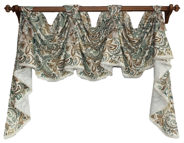 Pashmina Victory Swag With Decorative Trim, Spa, 4 Scoop.