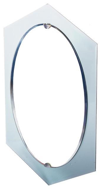 Diamond Shape Glass WOval Mirror Overlay WNickel Clips - Contemporary oval mirrors