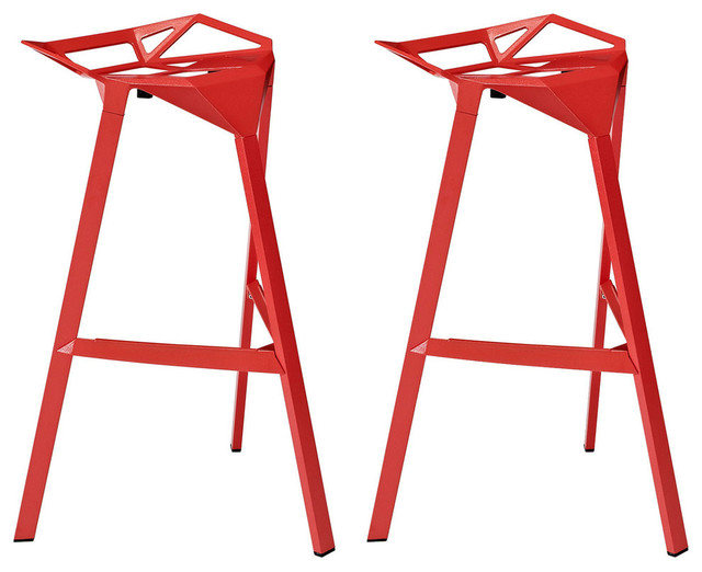 Incroyable Modern Contemporary Dining Kitchen Stacking Bar Stools, Red, Set Of 2