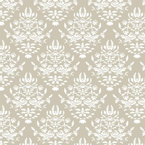Greige Damask Shelf Paper Drawer Liner, 120x24, Laminated Vinyl.