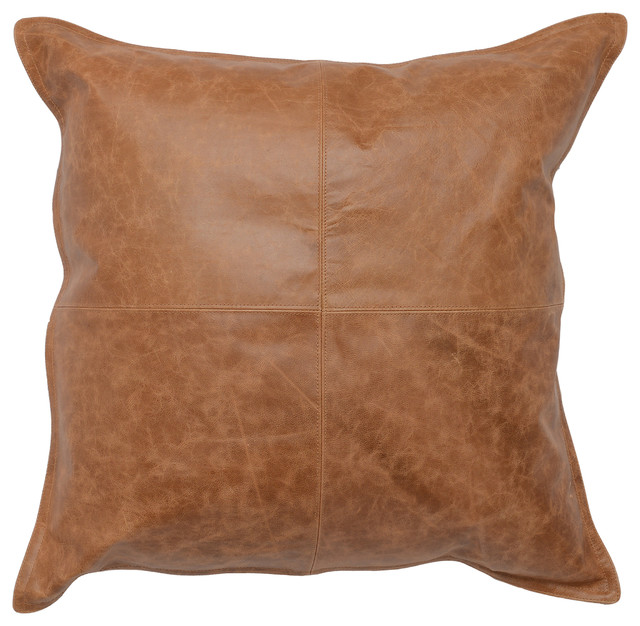 """Cheyenne 100% Leather 22""""x22"""" Throw Pillow by Kosas Home, Chestnut Brown"""