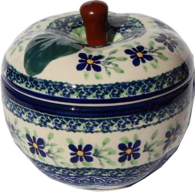 Polish Pottery Apple Baker, Pattern Number: Du121.