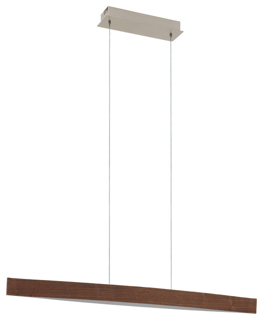 4x6w Led Pendant, Walnut Effect Finish.
