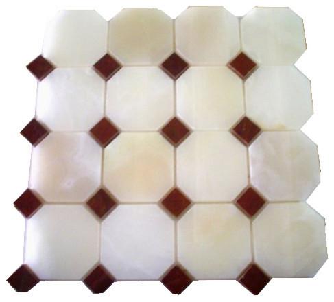 12x12 White Onyx Octagon Polished Red Dot Insert Mosaic