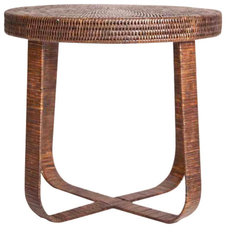 Artifacts Rattan Side Table, Espresso.