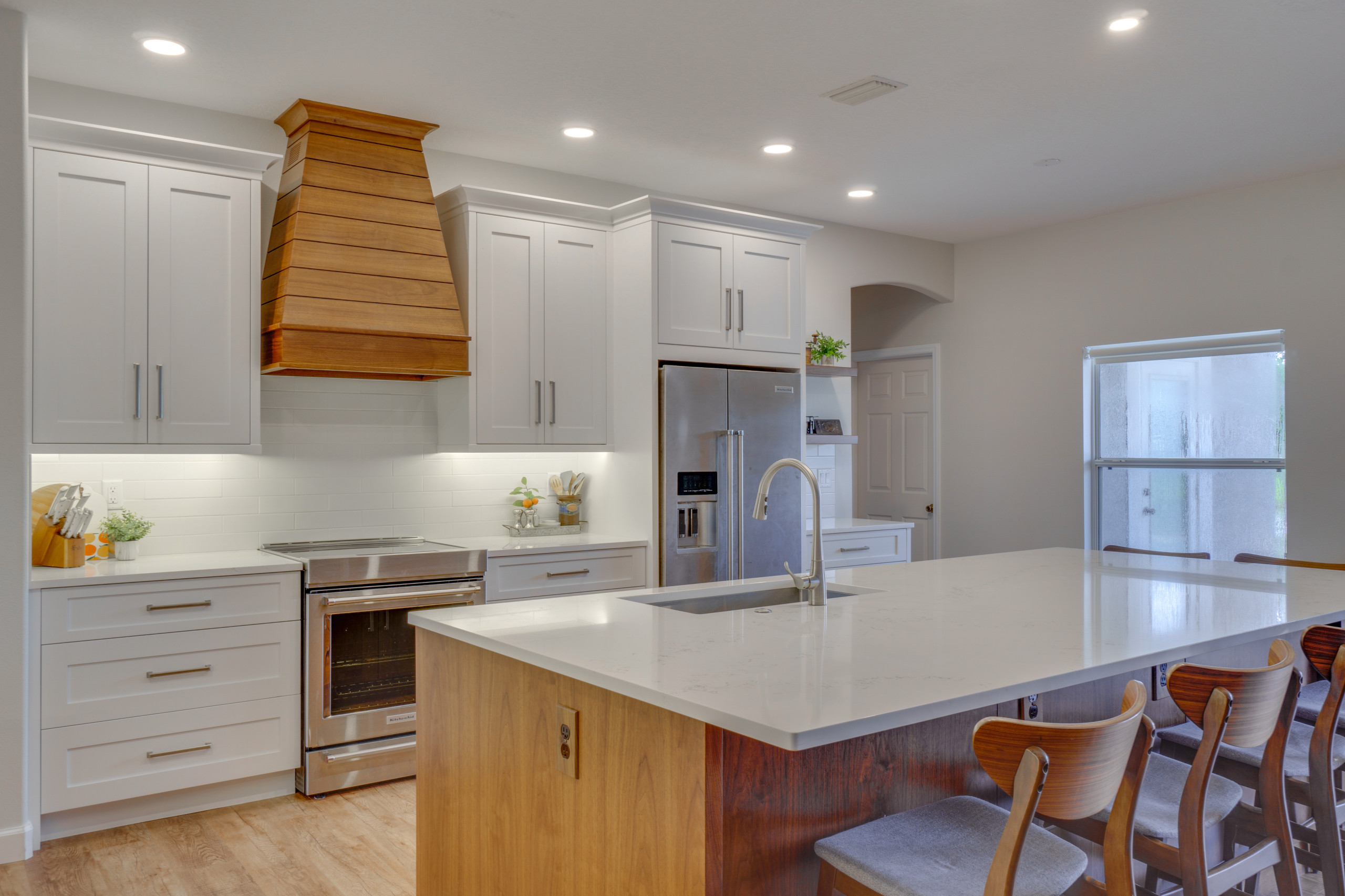 White and Walnut Kitchen Remodel