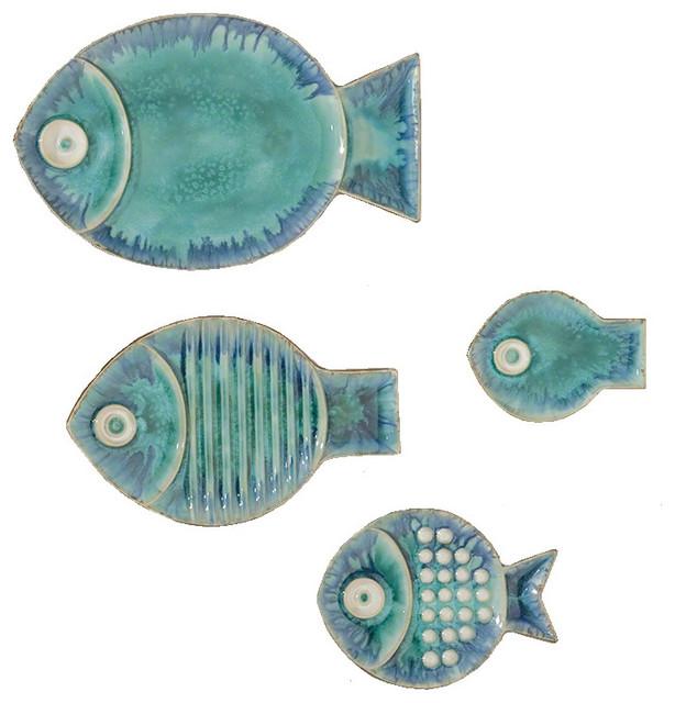 Global Views Blue Ceramic Fish Plate Wall Art, 4 Piece Set - Beach ...