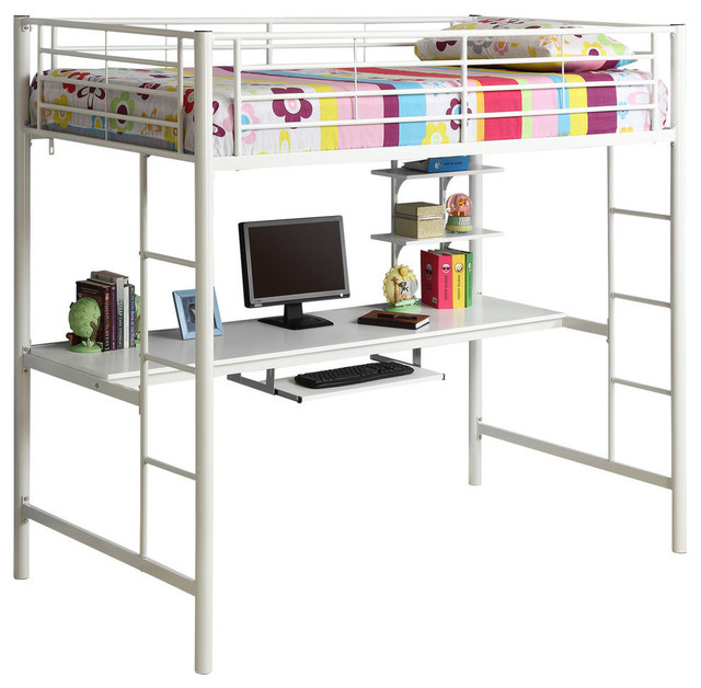 Twin Metal Loft Bed With Desk, White