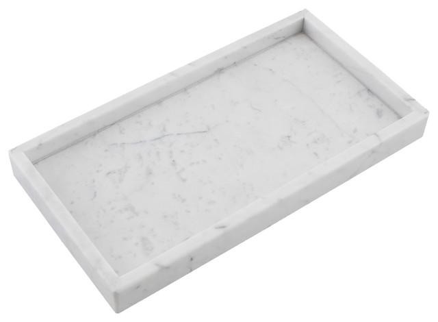 Cobi Rectangle Display Plate Carrara White Marble