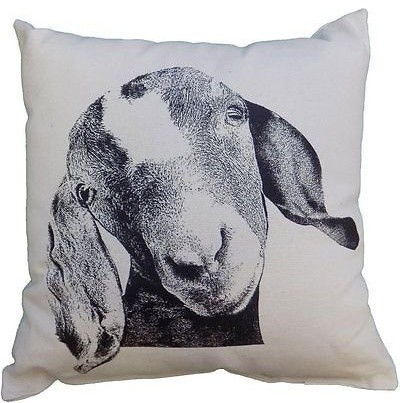 "Eric & Christopher Medium Goat 13""x13"" Square Pillow With Removable Insert."