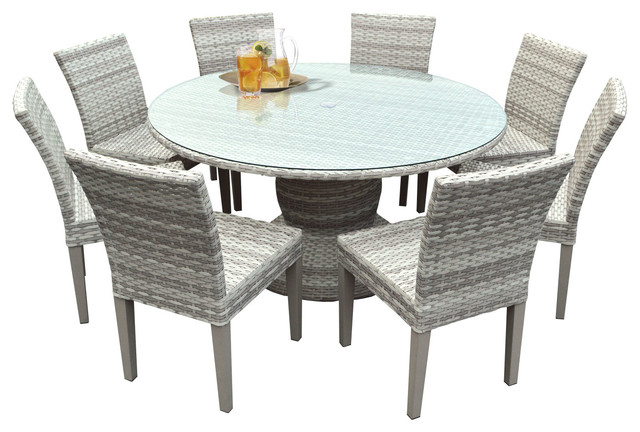 New Haven 60 Outdoor Dining Table With Chairs, 9-Piece Set, Without Cushions.