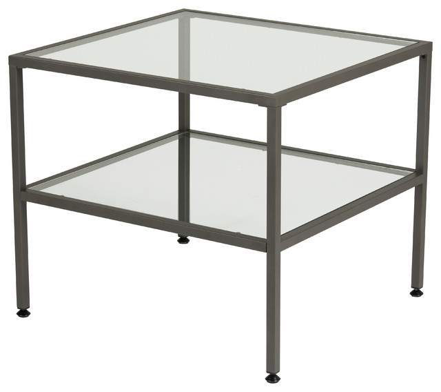 Attirant Camber End Table Pewter And Clear Glass