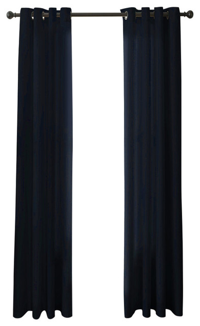 "Pointehaven Curtains With Black Grommets, Set Of 2, Blue, 50""x 96""."