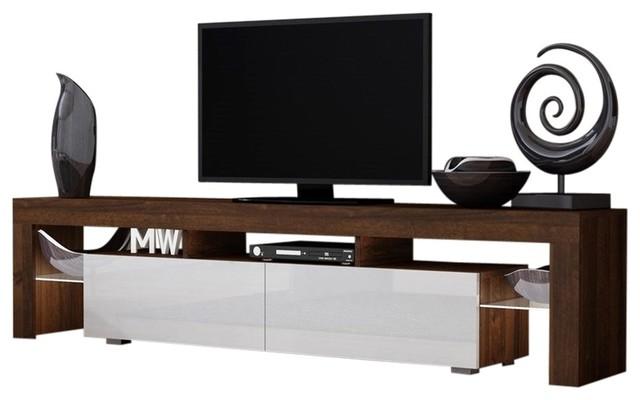 "Tv Stand Milano 200 Walnut Body/modern Led 90"" Tv Led, Walnut And White."