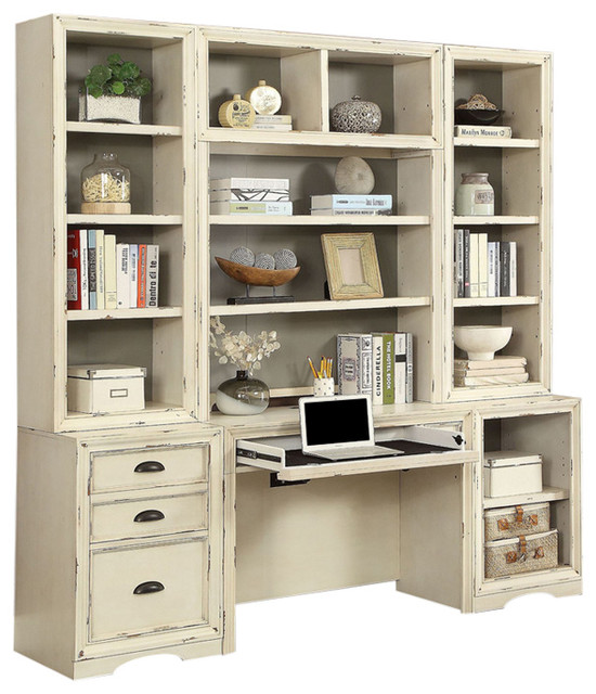 factory price 6ac03 05a5f Nantucket Vintage-Style Burnished Artisanal White Desk Wall Unit