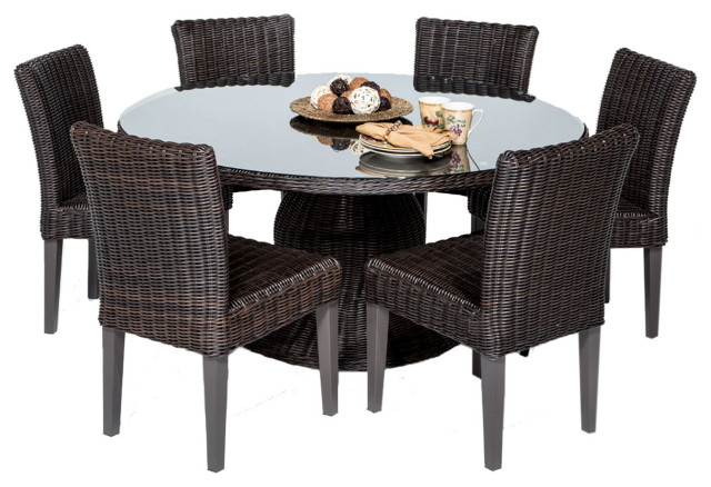 Venice 60 Inch Outdoor Patio Dining Table With 6 Armless Chairs Tropical Outdoor Dining Sets By Design Furnishings