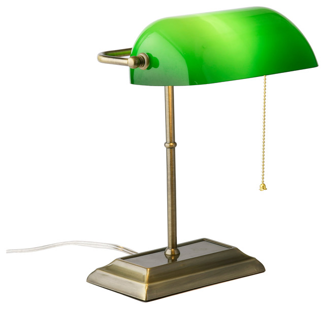 Green Glass Shade Classic Bankers Desk Lamp Antique Brass Finish  traditional-desk-lamps - Green Glass Shade Classic Bankers Desk Lamp Antique Brass Finish