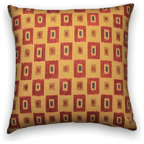 Traditional Sofa Pillows : Red Brown Geometric Throw - Traditional - Decorative Pillows - by Cody & Cooper Designs