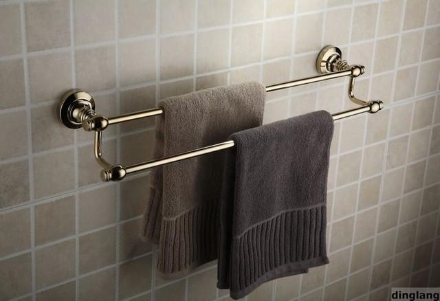"24"" Polished Brass Bathroom Dual Towel Bar"