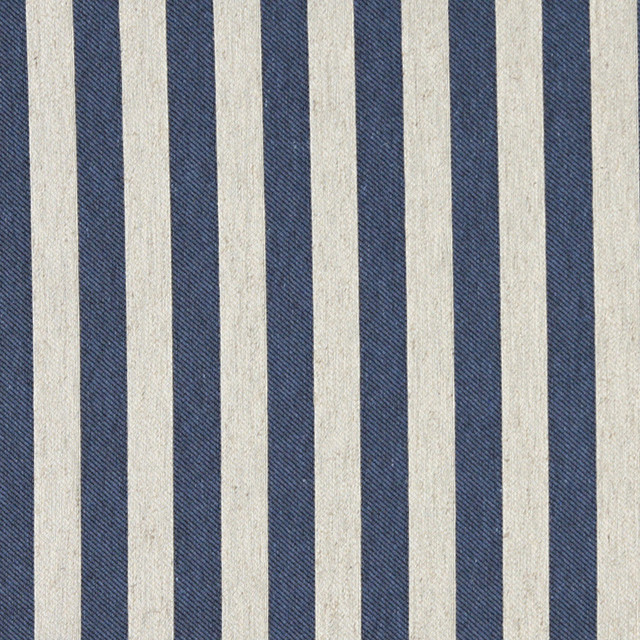 Blue And Off White Striped Linen Look Upholstery Fabric By The Yard