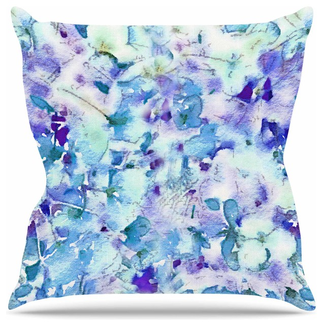 Carolyn Greifeld Floral Fantasy Blue Purple White Throw Pillow Magnificent Purple And Green Decorative Pillows