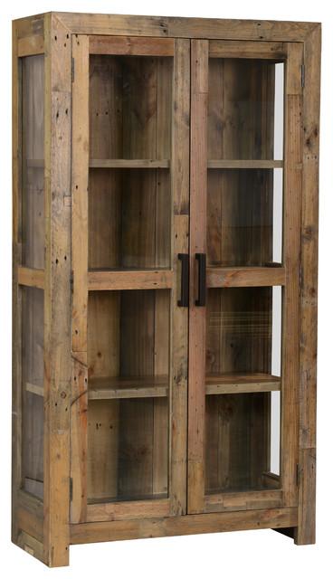 Door Curio Cabinet Distressed Natural