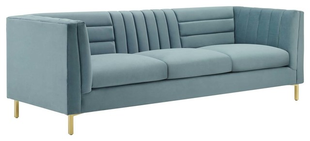 Ingenuity Channel Tufted Performance Velvet Sofa, Light Blue by Lex Mod