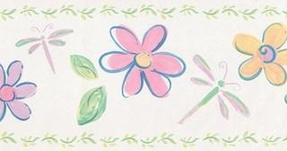 york wallcoverings cream flowers dragonflies wallpaper