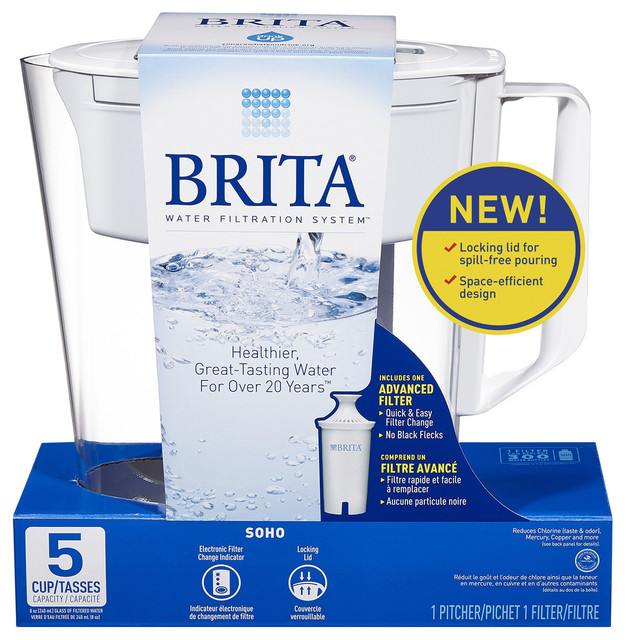 Brita 5 Cup White Soho Pitcher Water Filtration System.