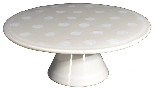 Linen Spotty Ceramic Cake Stand Large  sc 1 st  Houzz & Linen Spotty Ceramic Cake Stand - Transitional - Dessert And Cake ...