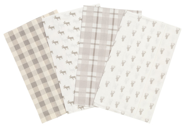Trend Lab Gray and Cream Buffalo Check Deluxe Flannel Changing Pad Cover