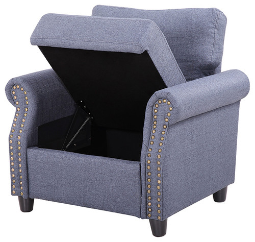 Classic Living Room Linen Armchair with Nailhead Trim and Storage Space, Blue