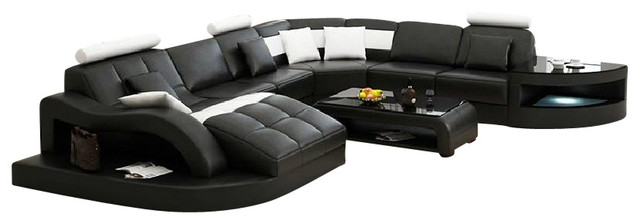 Black Sectional Couches divani casa emily modern sectional sofa, black and white bonded