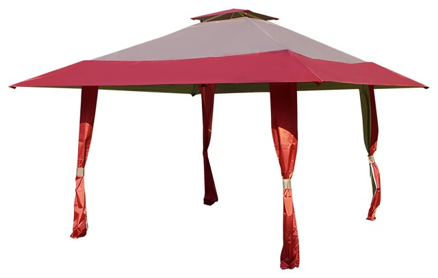 Outdoor 13&x27; X 13&x27; Pop Up Canopy Yard Patio Double Roof Canopy Tent, Burgundy Tan.