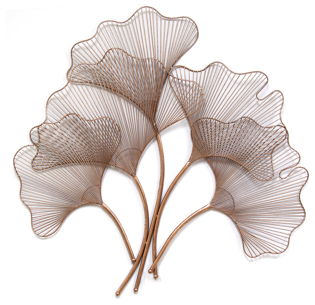 Ginkgo leaf wall decor rose gold contemporary metal for Gold wall art