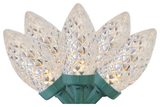 Set Of 100 White Faceted Led C7 Christmas Lights.