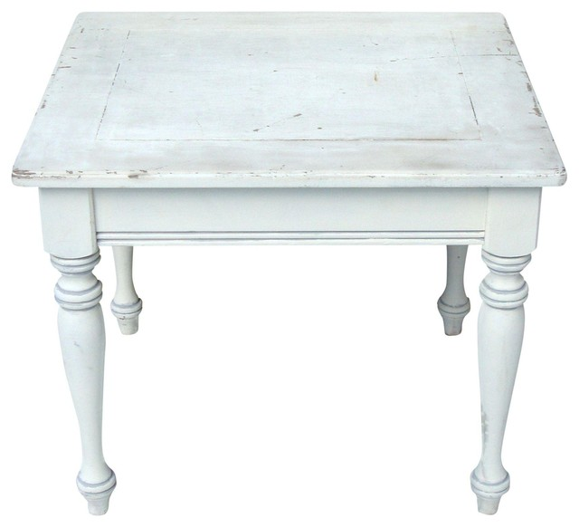 Consigned Vintage French Country Farmhouse Distressed Wood Table White With  Gray