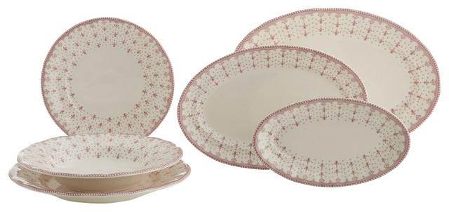Fine China Pink Fleur De Lis 27 Piece Dinnerware Set