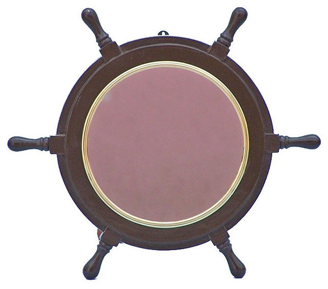 Pirate Ship Steering Wheel Mirror Wood And Br