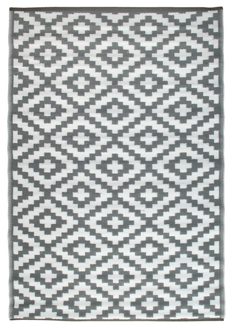 Troy Lightweight Indoor/outdoor Reversible Rug, Gray And White, 5&x27;x8&x27;.